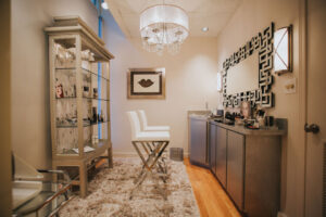 Upscale, luxurious makeup style studio interior